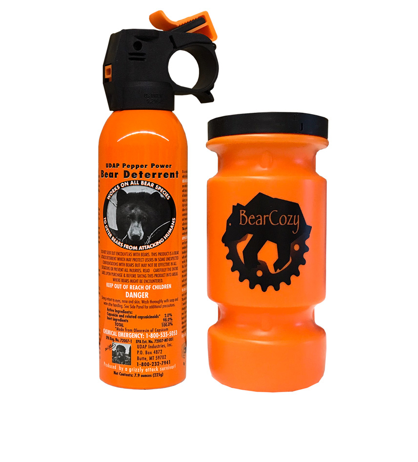 #12BC Safety Orange Bear Spray with Bear Cozy Water Bottle Mount 7.9oz 225G