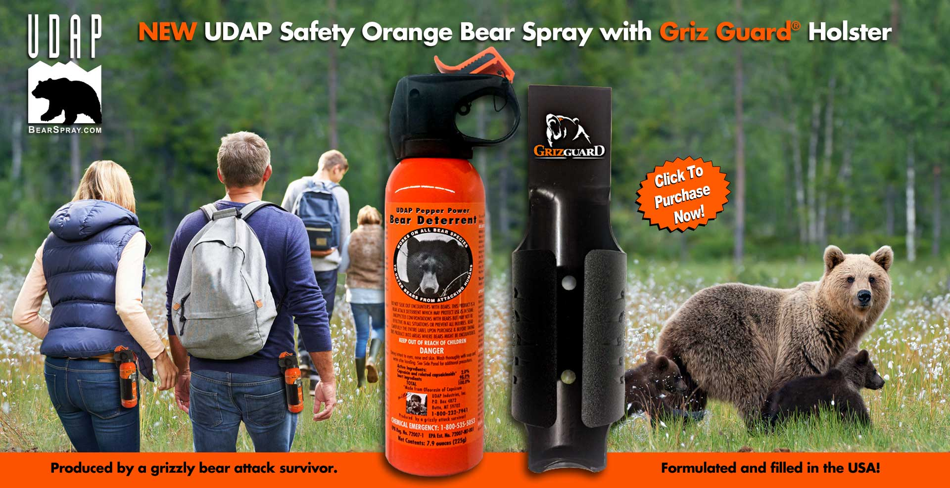 3 UDAP Pepper Spray Black Hard Case Key Chains By Makers Of Bear Spray