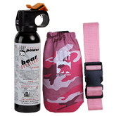 Bear Spray w/ Pink Camo Hip Holster & Pink Belt